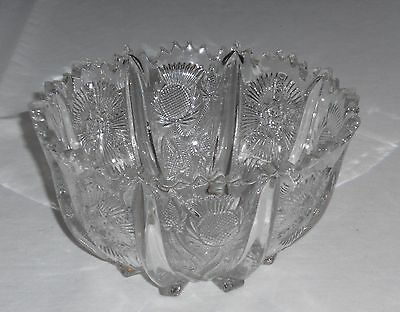 L G Wright Paneled Thistled Thistle Round Bowl Pressed Glass Footed 7 inch
