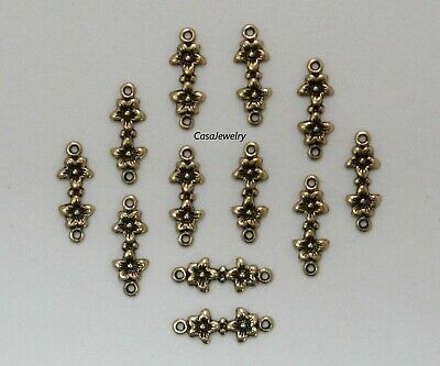 #1445 MINI ANTIQUED GOLD FLORAL 2 RING CONNECTOR - 12 Pc Lot