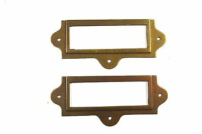 Pair Antiqued Brass File Cabinet Label Holder Name Holder Plan Chest Drawer Lh2