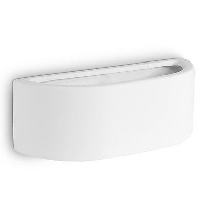 Contemporary Modern Curved White Ceramic Up & Down Indoor Wall Lamp Light NEW