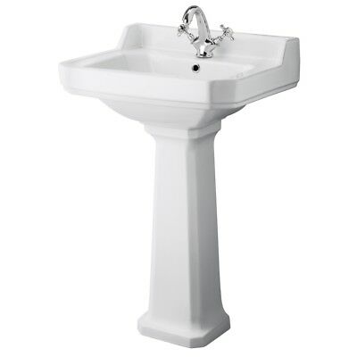 Traditional White Bathroom Ceramic One Tap Hole Basin Sink With Pedestal