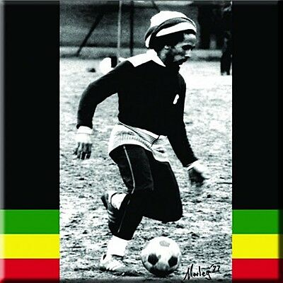 Bob Marley playing Football steel fridge magnet   (ro) REDUCED TO CLEAR