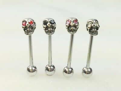 T#36 - 4pc Gem Eye Skull Tongue Rings Wholesale Lot Tounge Barbells