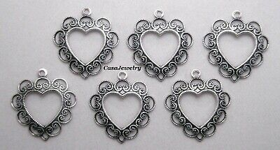#0274 ANTIQUED SS/P OPEN LACY HEART W/TOP HANG RING - 6 Pc Lot