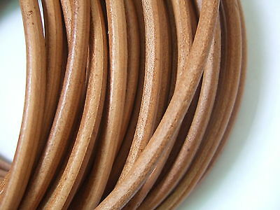 2/5M 5mm Natural Round Real Genuine Leather Cord String Lace Tong Jewelry Making