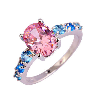 Charming Jewelry Pink Topaz & Blue Topaz Gemstones Silver Ring Size 6 7 8 9 Gift