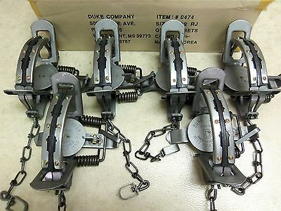 6 New Duke # 3 RUBBER JAW Coil Spring Traps Fox Bobcat Coyote  Trapping 0474