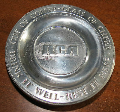 """6 Old Mill Ent Pewter 6"""" Saucers """"RCA"""" - """"Cup of Coffee ... Glass of Cheer"""""""