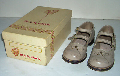 Vintage 1940s 1950s SZ 9 Black Hawk Girls Mary Jane Leather Shoes & Original Box