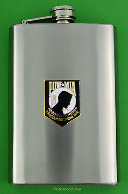 POW  Stainless Steel 8 Ounce Flask with screw down lid
