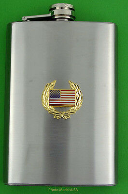 US FLAG  Stainless Steel 8 Ounce Flask with screw down lid