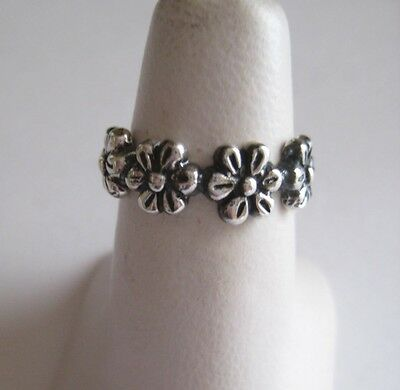 Mexican 925 Silver Taxco Oxidized Etched Girly FLOWERS RING all Fingers Sizes
