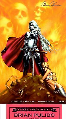 Lady Death Echoes 1 Barbarian 48/88 signed Brian Pulido COA FREE UK POST NM