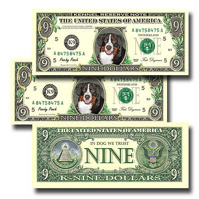 BERNESE MOUNTAIN DOG Pack of THREE Novelty NINE DOLLAR BILLS Dog