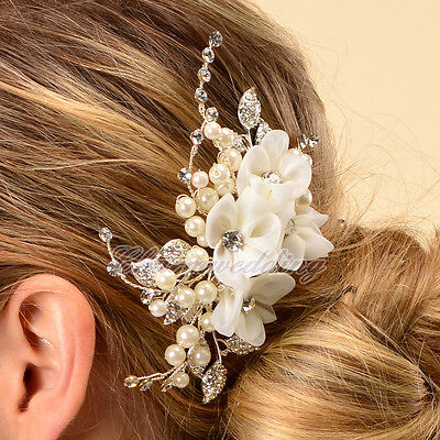 Silk Flower Bridal Wedding Hair Comb Pearl Crystal Diamante Clip Hair Accessory