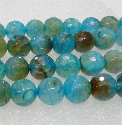 "AAA 8mm Faceted Blue Dragon Veins Agate Round Loose Beads 15"" Strand"