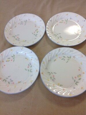 """Vintage Set of Four 4 Corelle Bread Plates in the English Meadow Pattern 7 1/4"""""""