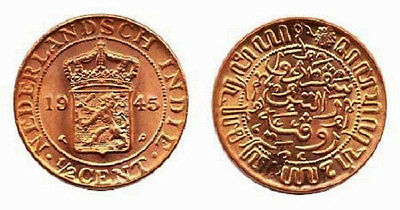 Netherlands East Indies 1945 1/2 Cent Uncirculated (KM314.2)