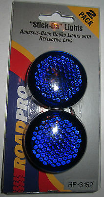 NEW Roadpro RP-3152 12v STICK ON REFLECTIVE BLUE LIGHTS PAIR 2 PK