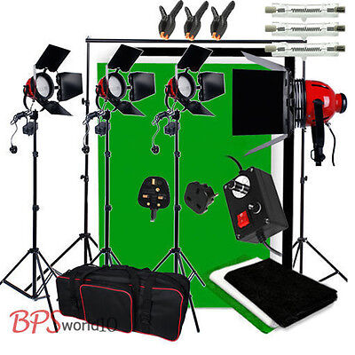 2400W Video Red Head Readhead Lighting Kit Dimmer 3 Backdrop Background Stand UK