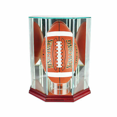 Glass Upright Football Display Case Uv Protection Cherry Wood And Mirror Back