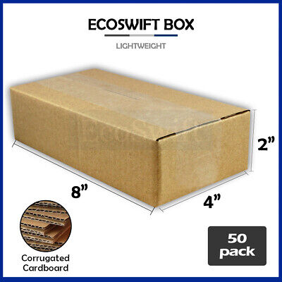 50 8x4x2 Cardboard Packing Mailing Moving Shipping Boxes Corrugated Box Cartons