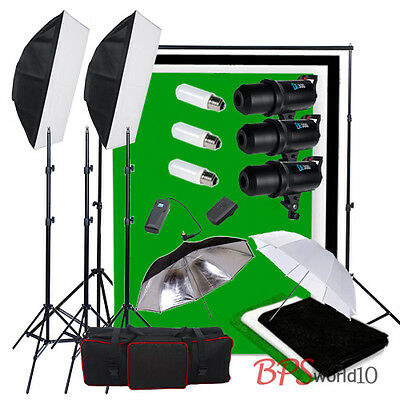 900W Digital LED Display Flash Kit Cool Fan 3 Backdrop Background Stand Portrait