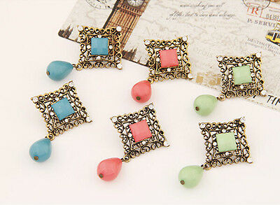 Hot Charm Retro Vintage Hollow Out Carve Rhinestone Resin Dangle Stud Earrings