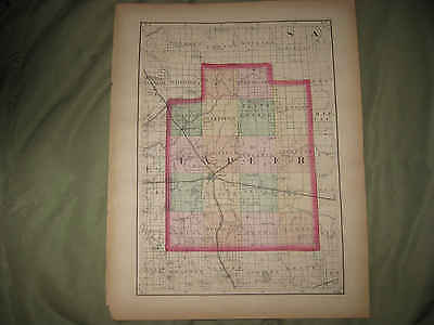 Antique 1873 Lapeer Genesee County Michigan Handcolored Map Flint Railroad Nr