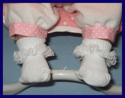 """Lace Ruffle Trim Doll SOCKS Baby Booties for 14"""" Reborn & BERENGUER BABIES"""