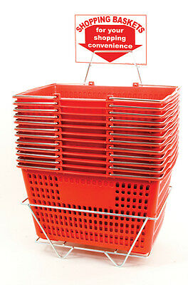 12 Jumbo Shopping Baskets - Chrome Handles - Metal Stand and Sign - Red