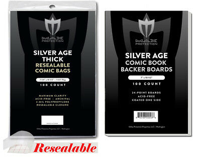 500 Resealable Thick Silver Age Max Pro Comic Book Poly Bags 7-1/4x10-1/2 Boards