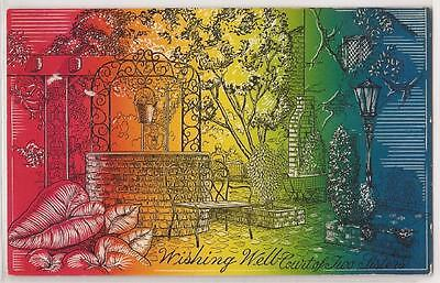 "New Orleans Postcard ""Court of the Two Sisters"" Restaurant Colorful Wishing Well"