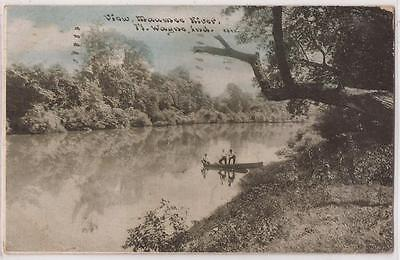 """Fort Wayne, Indiana Postcard """"View, Maumee River"""" w/ Men in Boat WILLIAMS 1910"""
