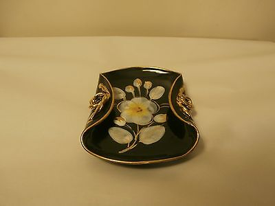 Italy Folded Plate Trimmed in Gold with Twisted Gold Rope Handles & Flower