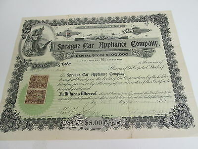 1900 SPRAGUE CAR APPLIANCE COMPANY STOCK CERTIFICATE, STATE OF MAINE, No. 60