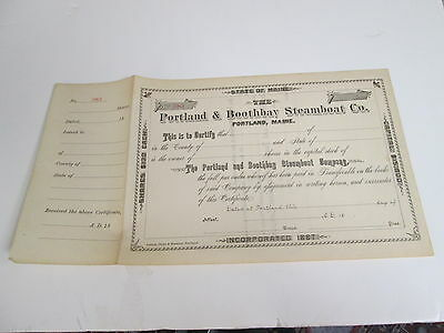 1880s PORTLAND & BOOTHBAY STEAMBOAT CO., STOCK CERTIFICATE, MAINE, No. 383