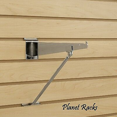 "12 Planet Racks 12""-14"" Slatwall Shelf Support Brackets - Chrome"