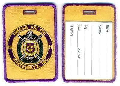OMEGA PSI PHI Luggage ID Tags (Set of 2) Large - Crest - Shield - Embroidered