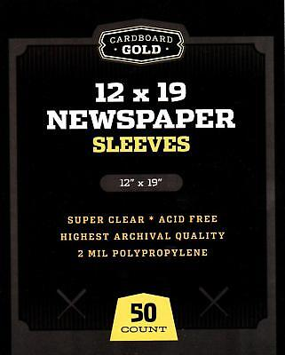 250 CBG 12 x 19 Newspaper Acid Free 2-Mil Clear Poly Sleeves 12x19