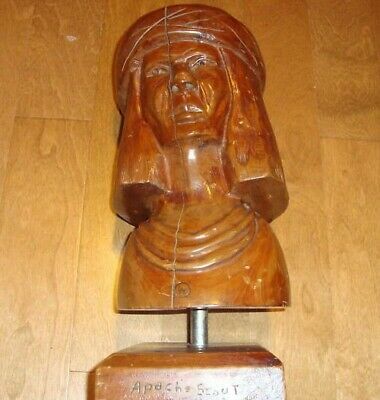 Vintage Apache Scout - Indian -Hand Carved Wooden Statue / Bust * 1930-40's ?