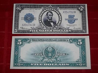 Crisp Unc. 1923 $5  Silver Certificate Copy Pls Read Description!