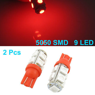 2 Pcs T10 194 168 W5W Red 5050 9 SMD LED Tail Light Bulbs DC 12V for Car