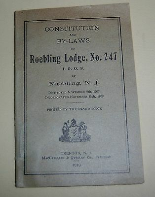 1919 Roebling Lodge No. 247 Independent Order of Odd Fellows Booklet Trenton NJ
