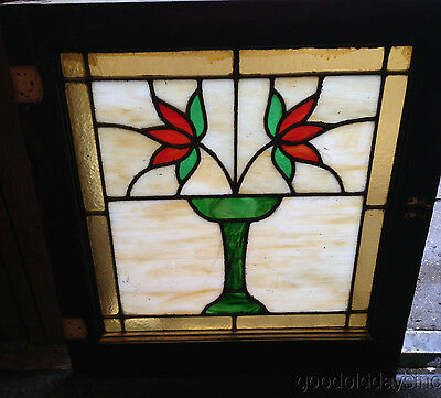 Nice Small Classic 1920's Chicago Bungalow Style Stained Leaded Glass Window