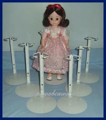 "6 White KAISER Doll Stands for 14"" & 16""  Madame Alexander Effanbee Dolls"