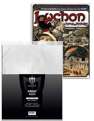 Pack 100 Max Pro 12 x 18 Art Print Tabloid Soft 2 Mil Archival Poly Bags 12x18