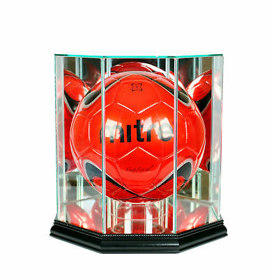 Glass Soccer Ball Display Case w/  UV Protection - Black Wood