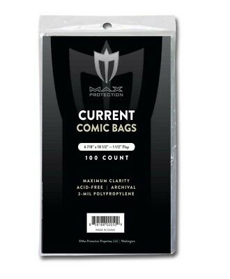 200 Current Comic Book 2 Mil Acid Free Archival Poly Bags 6 7/8 x 10 1/2 Max Pro