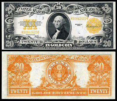 Nice Looking Crisp Unc. 1922 $20 Gold Certificate Copy Pls Read Description